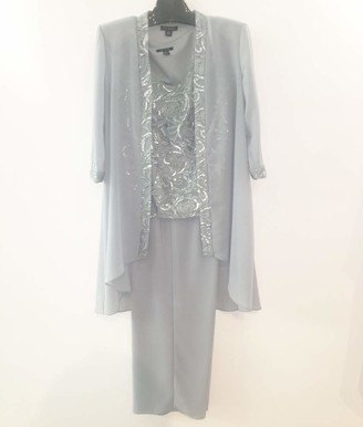Le Bos Women's Embellished Trim Long Jacket Pantset