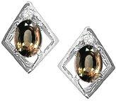 Tommaso design Studio Tommaso Design Oval 5x3mm Genuine Smoky Quartz and Diamond Earrings 14k