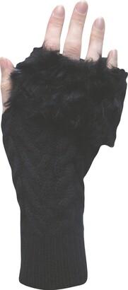 Teddyt's Ladies' Thermal Knit Faux Fur Fingerless Gloves & Wrist Warmers (Black)