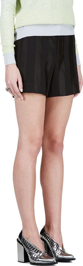 Theyskens' Theory Black Tonal Stripe Shorts