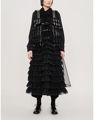 Noir Kei Ninomiya Buckle-embellished cropped wool and synthetic leather gilet
