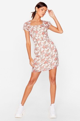 Nasty Gal Womens Grow Strings Attached Floral Mini Dress - White - 4, White