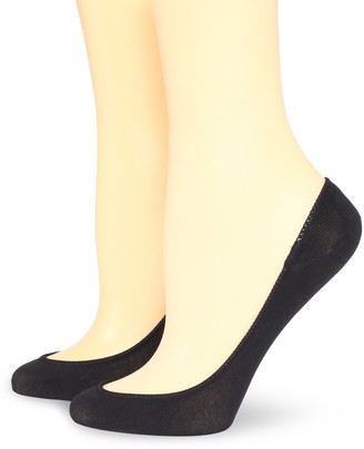 Hue Women's 2 Pair Pack Ultra Low Cut No Show Liner Sock