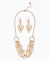 Charming charlie Gilded Oval Necklace Set