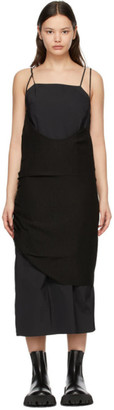 Ader Error Black Crepe Layered Dress