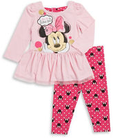 Nannette Baby Girls Minnie Mouse Peplum Top and Leggings Set