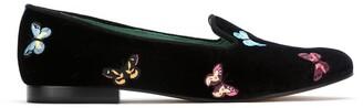 Blue Bird Shoes velvet Borboleta loafers