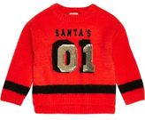 River Island Mini girls red knit sequin Christmas jumper