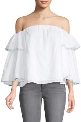 1 STATE 1.State Off-The-Shoulder Cotton-Blend Top
