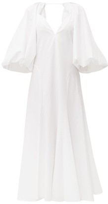 KHAITE Joanne Balloon-sleeve Cotton Maxi Dress - Womens - White