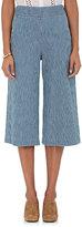 Masscob Women's Striped Denim Wide-Leg Crop Pants