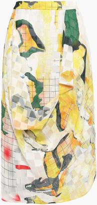 Chalayan Draped Printed Fil Coupe Chiffon Skirt