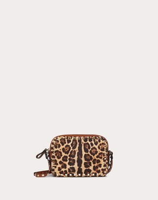 Valentino Small Rockstud Crossbody Bag In Leopard Print Canvas Women Silver 100% Cotone OneSize