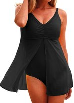 Leezeshaw Women Summer Sexy Halter Lined-Up Solid Cover-Ups Monokini One-Piece Swimsuit