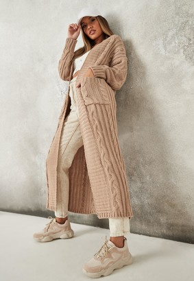 Missguided Petite Camel Maxi Cable Knitted Cardigan