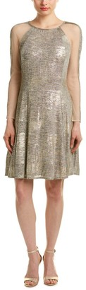 Julia Jordan Women's Long Sheer Metallic Sleeve Jersey Knit Fit and Flair