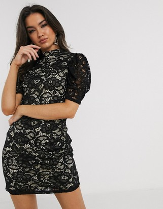 Girl In Mind ruched puff sleeve lace crochet front mini dress in black