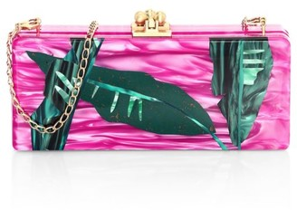 Edie Parker Medium Slim Palm-Print Acrylic Clutch