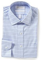 Roundtree & Yorke Gold Label Non-Iron Slim-Fit Spread-Collar Checked Royal Oxford Dress Shirt