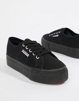 Superga 2790 linea flatform trainers in black