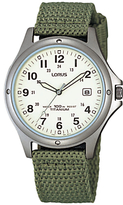 Lorus Rxd425l8 Date Nylon Fabric Strap Watch, Military Green/cream