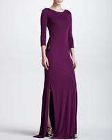 Roberto Cavalli Lace-Back Silky Jersey Gown, Purple