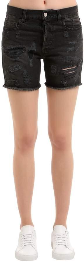 Faith Connexion Destroyed Cotton Denim Shorts