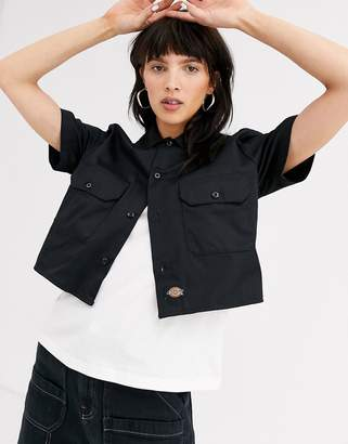 Dickies cropped shirt with front pockets and logo tab-Black