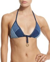 Seafolly Out-Of-The-Blue Triangle Swim Top, Denim Blue