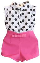 Susenstone Girl Child Kid Polka Dot T-shirt Tops + Pink Bowknot Pants Shorts 1Set