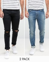 Asos Skinny Jeans 2 Pack In Black With Knee Rips & Mid Blue SAVE