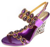 Honeystore Women's Water Patterned Rhinestones with Straps Wedge Sandals