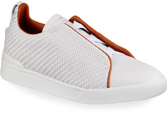Ermenegildo Zegna Men's Triple-Stitch Pelle Tessuta Leather Sneakers