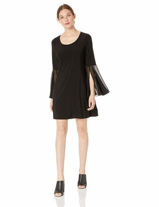 MSK Women's Petite Casual Daytime Bell Sleeve Dress with Scoop Neck