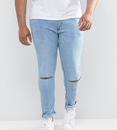 Jacamo Plus Skinny Jeans With Knee Rips In Bleach Wash