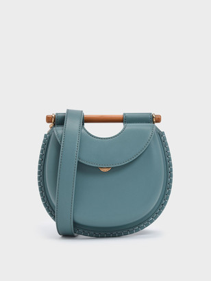 Charles & Keith Wood-Effect Handle Whipstitch Trim Bag