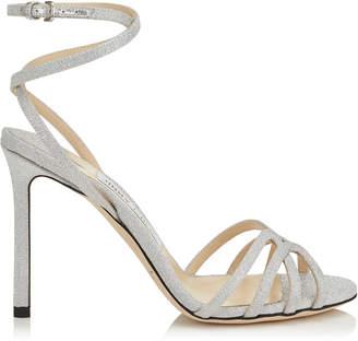 Jimmy Choo MIMI 100 Silver Fine Glitter Fabric Wrap Around Sandal