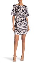 Eliza J Bell Sleeve Patterned Shift Dress