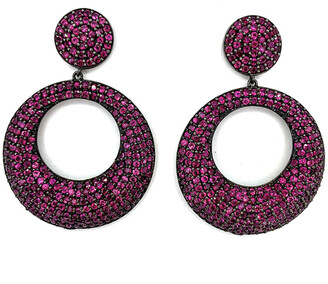 Arthur Marder Fine Jewelry Silver 10.00 Ct. Tw. Ruby Drop Earrings