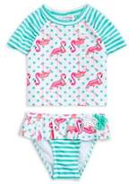 Flapdoodles Little Girl's Two-Piece Ruffled Striped Flamingo Swimsuit