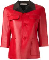 Marni contrast collar leather jacket - women - Lamb Skin - 42