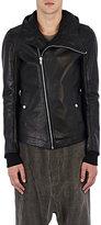 Rick Owens Men's Leather Hooded Bullet Jacket-BLACK