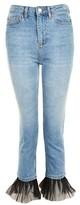 Topshop MOTO Tulle Hem Straight Leg Jeans