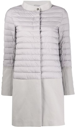 Herno Contrast-Panel Quilted-Down Coat