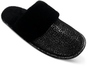 INC International Concepts Inc Glitter Faux-Fur Slippers, Created for Macy's