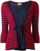 Armani Collezioni tied front striped blouse