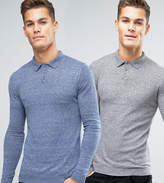 Asos 2 Pack Knitted Muscle Fit Polo In Blue/Grey Save