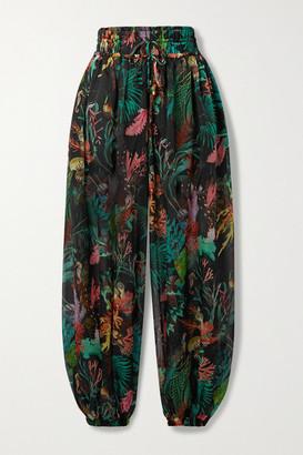 PatBO Oasis Gathered Printed Chiffon Track Pants - Black