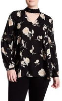 Blu Pepper Printed Long Sleeve Blouse (Plus Size)