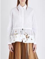 DELPOZO Flower-embellished cotton-poplin shirt